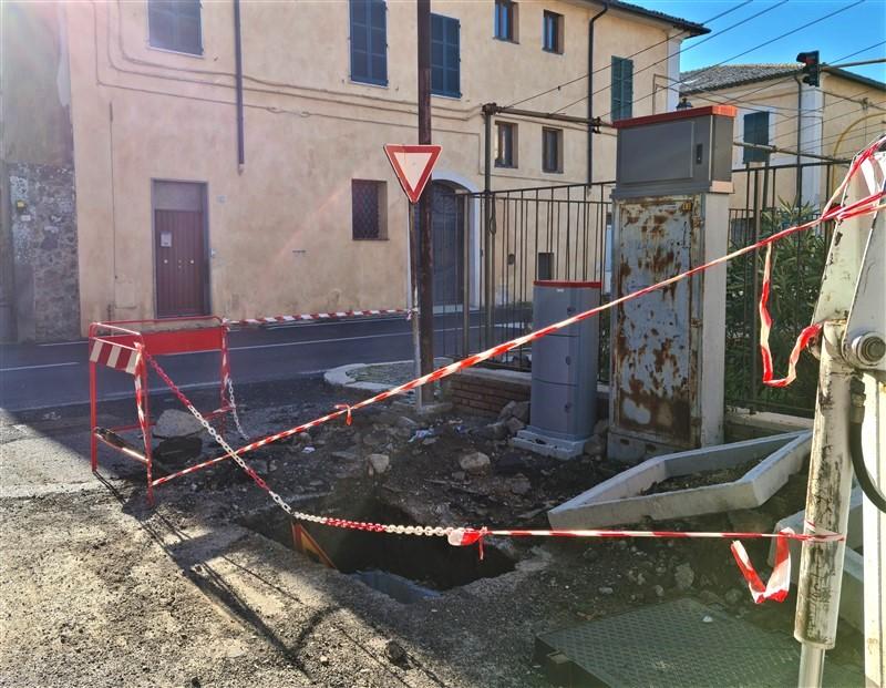 Lavori per la fibra ottica FTTC Tim a San Lorenzo Nuovo